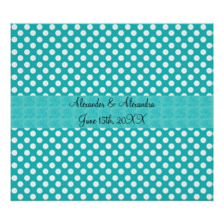 Turquoise polka dots wedding favors poster