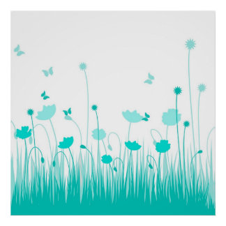 Turquoise poppies Poster
