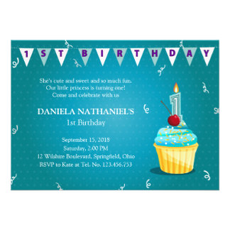 Turquoise Princess Cupcake 1st Birthday Party Personalized Invite