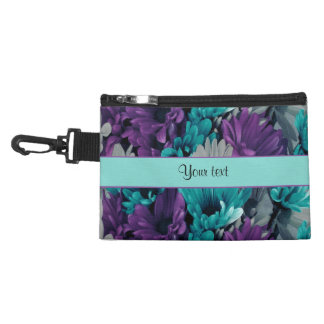 Turquoise & Purple Daisies Accessory Bag