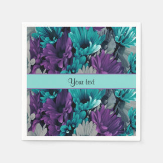 Turquoise & Purple Daisies Disposable Serviettes