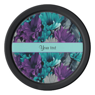 Turquoise & Purple Daisies Poker Chips