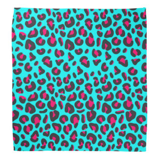 Turquoise Purple Leopard Animal Print Bandana