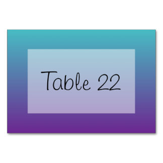 Turquoise Purple Ombre Table Card