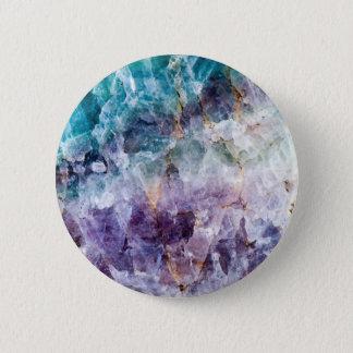 Turquoise & Purple Quartz Crystal 6 Cm Round Badge