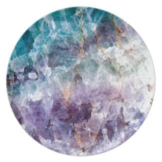Turquoise & Purple Quartz Crystal Dinner Plate
