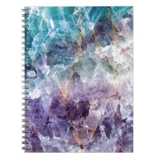 Turquoise & Purple Quartz Crystal Spiral Notebook