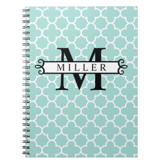 Turquoise Quatrefoil Custom Monogram Name Notebook