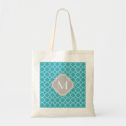 Turquoise Quatrefoil Pattern with Monogram Tote Bags