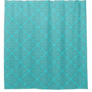 Turquoise Quilt Block Design Shower Curtain