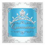 Turquoise Quinceanera 15th Birthday Silver Tiara Personalised Announcement