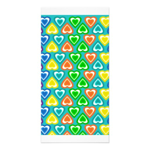 Turquoise rainbow hearts pattern personalized photo card