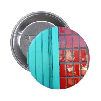 Turquoise Red Abstract wood tile photograph 6 Cm Round Badge