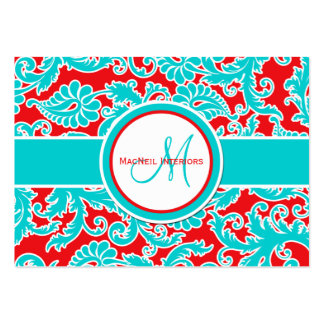 Turquoise, Red, and White Damask Business Card