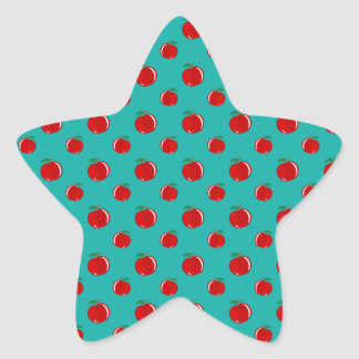 Turquoise red apple pattern star sticker