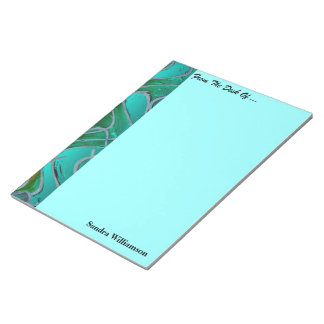 Turquoise red colorful pattern notepad