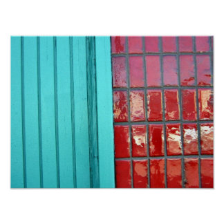 Turquoise Red Poster