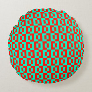 Turquoise&Red Tiles Design on Round Sofa Cushion