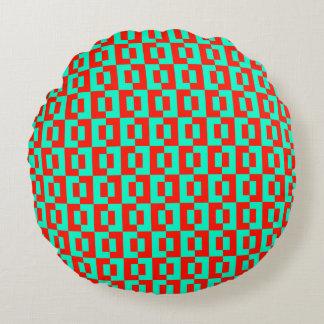 Turquoise&Red Tiles Design on Round Sofa Cushion Round Cushion
