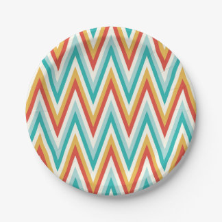 Turquoise Red Yellow Zig Zag Chevron Stripes 7 Inch Paper Plate