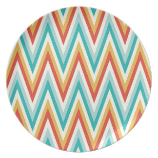 Turquoise Red Yellow Zig Zag Chevron Stripes Party Plate