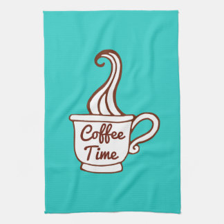 Turquoise Retro Coffee Diner Kitchen Towel Gift