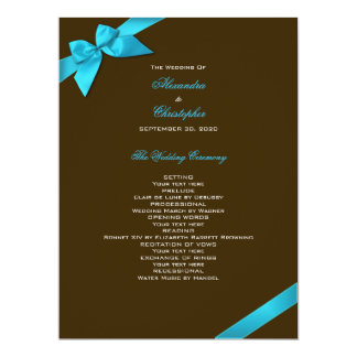 Turquoise Ribbon on Brown Wedding Program 17 Cm X 22 Cm Invitation Card