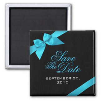 Turquoise Ribbon Save The Date Wedding Favor Square Magnet