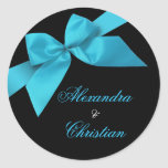 Turquoise Ribbon Wedding Announcement RSVP Round Stickers