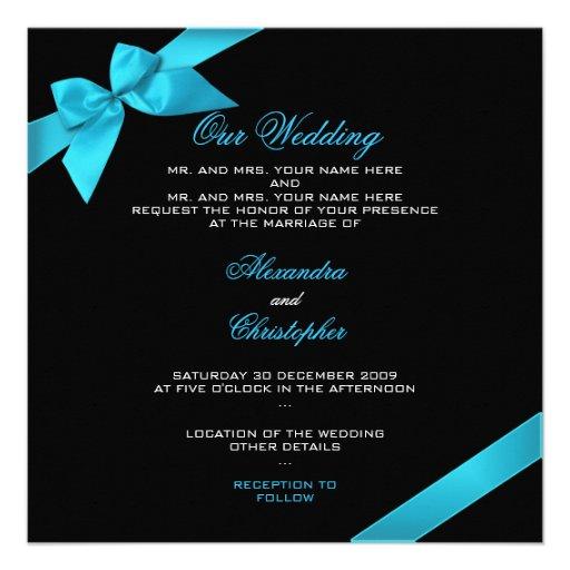 Turquoise Ribbon Wedding Invitation Announcement 2