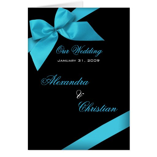 Turquoise Ribbon Wedding Invitation Announcement Greeting Cards