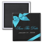 Turquoise Ribbon Wedding Invitation Save The Date Refrigerator Magnets
