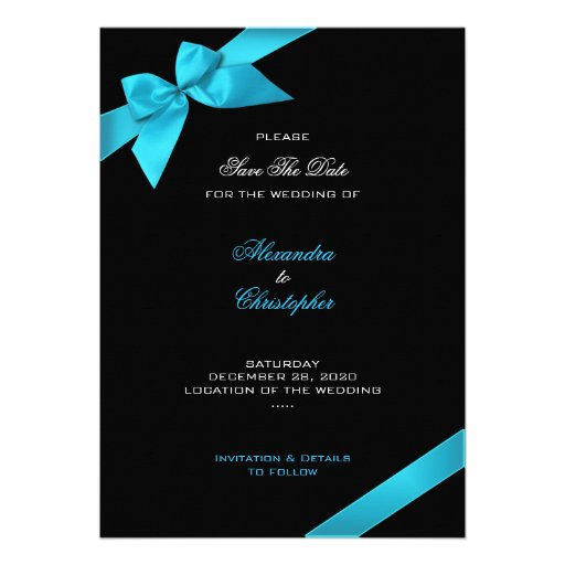 Turquoise Ribbon Wedding Save The Date 2 Personalized Invitation