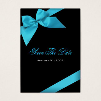 Turquoise Ribbon Wedding Save The Date MiniCard