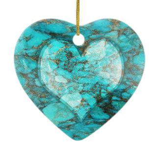 Turquoise Rock Heart Ceramic Heart Decoration