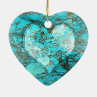 Turquoise Rock Heart Ceramic Ornament