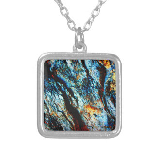 Turquoise Rock Square Pendant Necklace