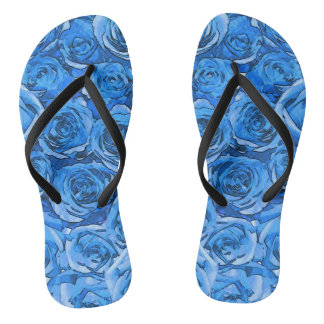 Turquoise Roses Thongs