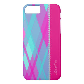 turquoise & rouge checkered pattern with diamonds iPhone 7 case
