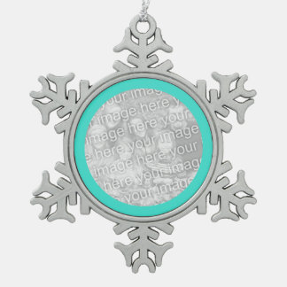 Turquoise Round Border Snowflake Pewter Christmas Ornament