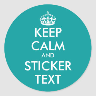Turquoise round KeepCalm Stickers | personalizable