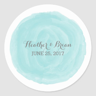 Turquoise Round Watercolor Wedding Stickers