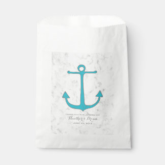 Turquoise Rustic Anchor Wedding Favour Bag