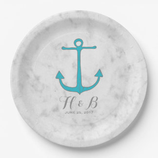 Turquoise Rustic Anchor Wedding Paper Plate