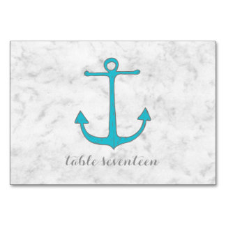 Turquoise Rustic Anchor Wedding Table Card
