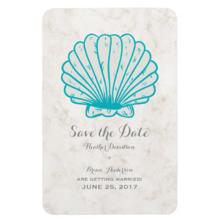 Turquoise Rustic Seashell Save the Date Magnet