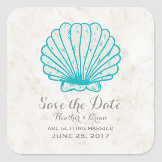 Turquoise Rustic Seashell Save the Date Square Sticker