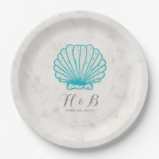 Turquoise Rustic Seashell Wedding 9 Inch Paper Plate