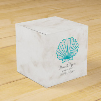 Turquoise Rustic Seashell Wedding Favour Box