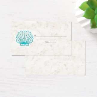 Turquoise Rustic Seashell Wedding Place Cards